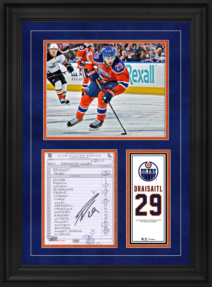 Leon Draisaitl Edmonton Oilers Framed Autographed Original Line-Up Card from April 30, 2017 vs. Anaheim Ducks - Eighth Point of the 2017 Stanley Cup Playoffs