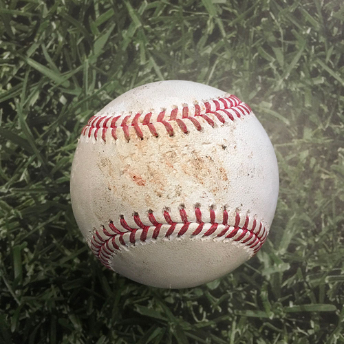 Photo of Game-Used Baseball LAD@MIL 04/29/21 - Trevor Bauer - Tyrone Taylor: Strikeout