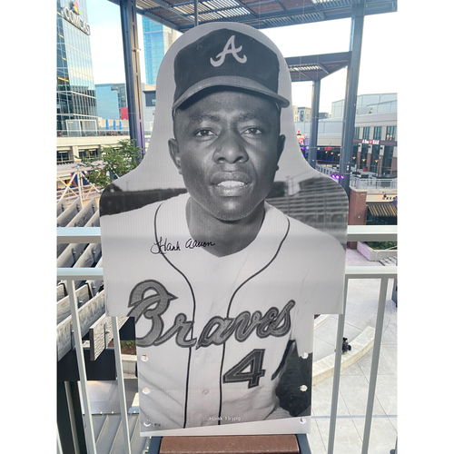 Photo of MLB Authenticated Autographed Cardboard Cutout photo of Hank Aaron who led the league in total bases eight times and holds the all-time record with 6,856 for his career