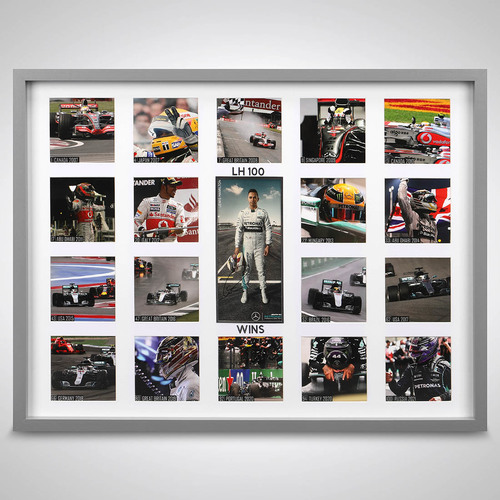 Photo of Lewis Hamilton 100 Wins Photograph Display With Signed Driver Card