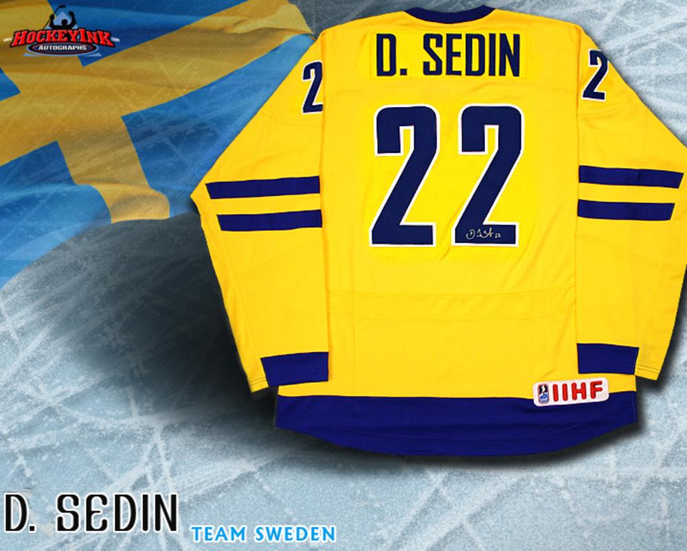 DANIEL SEDIN Signed TEAM SWEDEN 2010 Olympics Yellow Nike Jersey - Vancouver Canucks