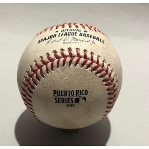 Photo of 2018 Puerto Rico Series: Pitcher - Corey Kluber, Batter - Max Kepler (Double) Batter - Robbie Grossman (Swinging Strike) - 4/17/18