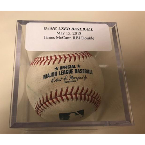 Photo of Game-Used Baseball: James McCann RBI Double