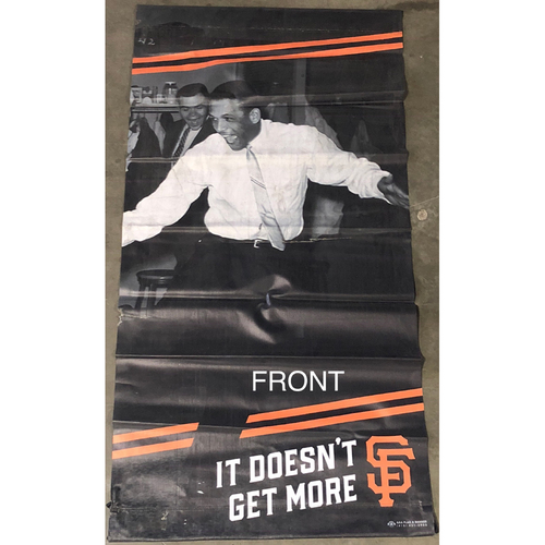 Photo of San Francisco Giants - 2018 Street Banner - 60th Anniversary - Juan Marichal and Orlando Cepeda Celebrate Beating LA!