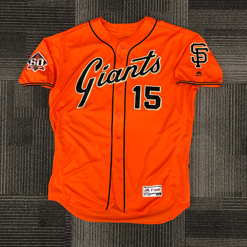 Photo of San Francisco Giants - 2018 Holiday Deal! - 2018 Team Issued Orange Friday Alternate Home Jersey - #15 Bruce Bochy - size 52