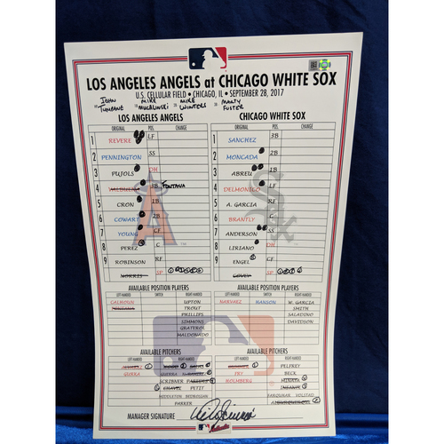 Photo of Los Angeles Angels v Chicago White Sox Game-Used Lineup Card September 28th 2017