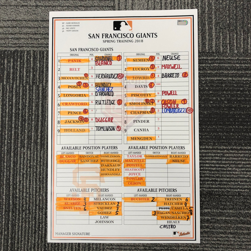 Photo of 2018 Spring Training Game-Used Line Up Card - 3/26/18 vs. Oakland A's