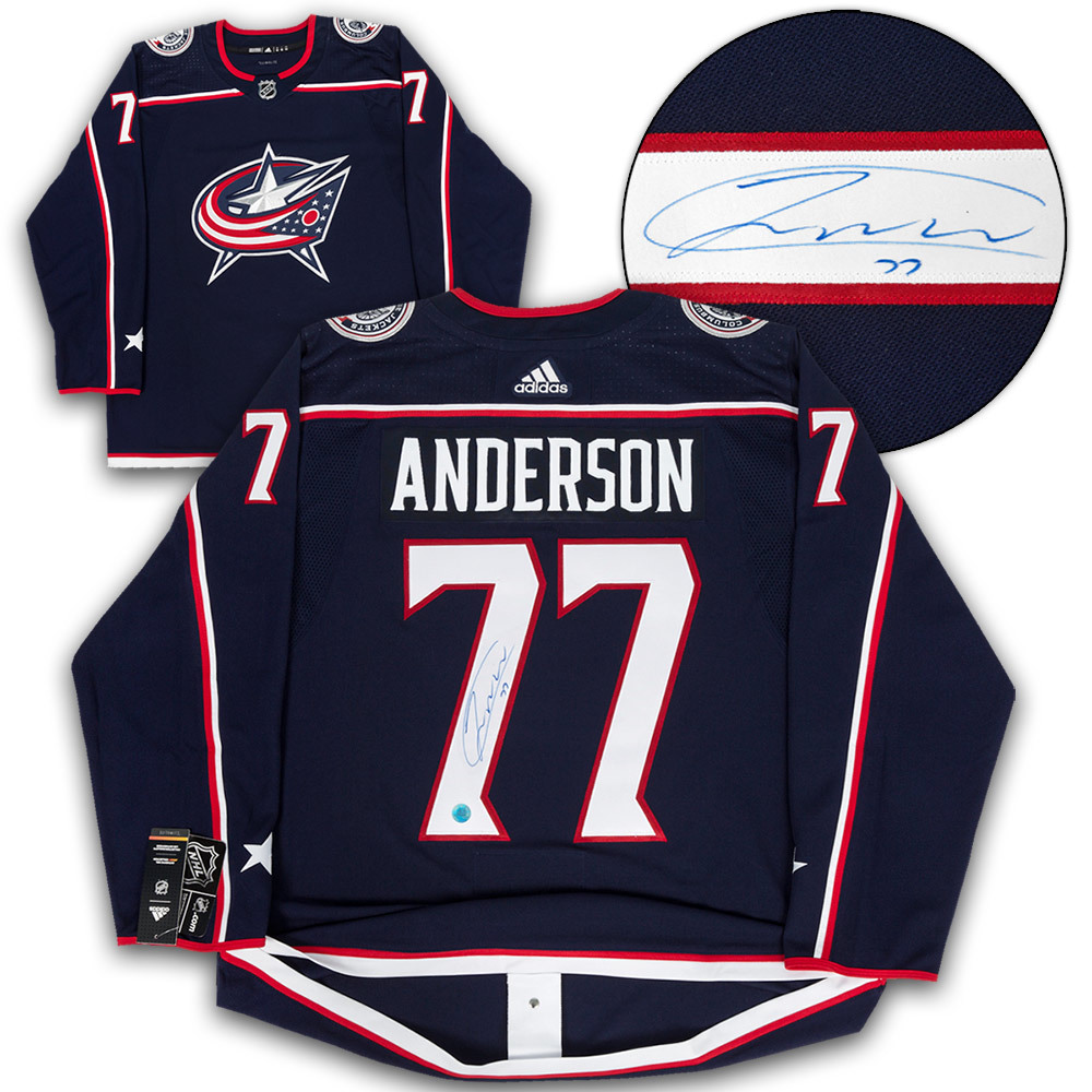 Josh Anderson Columbus Blue Jackets Autographed Adidas Authentic Hockey Jersey