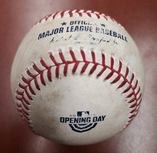 Photo of Authenticated Game Used Opening Day Baseball - March 28, 2019 vs Tigers: Ball by Marcus Stroman to Niko Goodrum (T7)