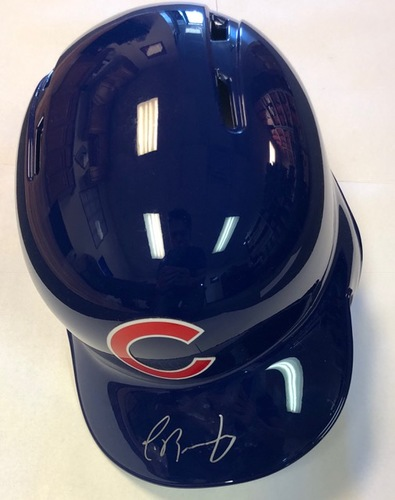 Photo of Javier Baez Autographed Cubs Batting Helmet