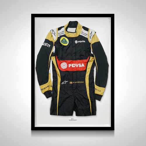 Photo of Pastor Maldonado 2015 Framed Race-worn Race Suit - Lotus F1 Team