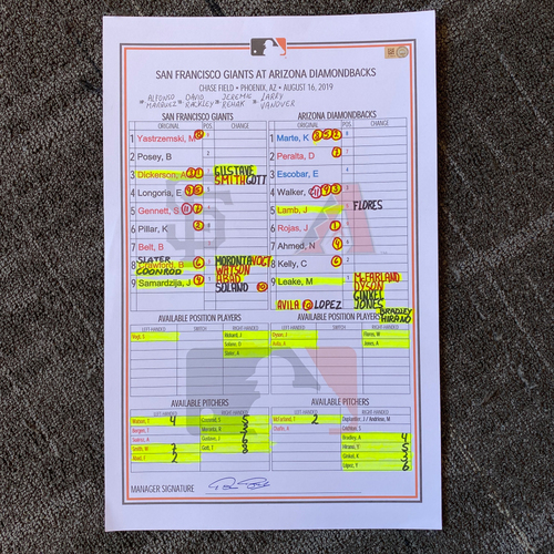 Photo of 2019 Lineup Card - San Francisco Giants @ Arizona Diamondbacks - 8/16/19 - Giants Win 10-9 - Mike Yastrzemski Hits 3 HR, Kevin Pillar Hits 2 HR and Brandon Belt hits HR #13 of 2019