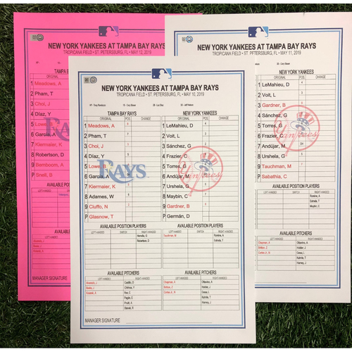 Photo of Replica LineUp Cards: May 10-12, 2019 v NYY