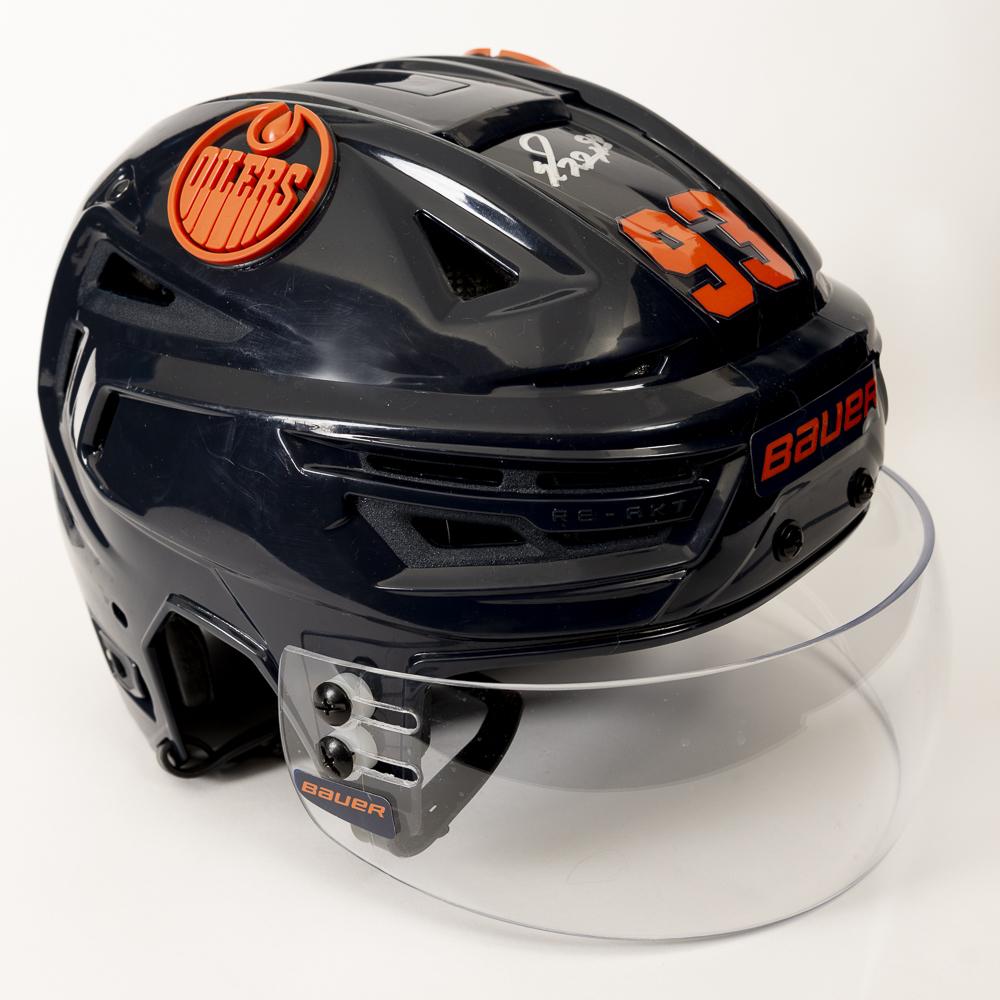 Ryan Nugent-Hopkins #93 - Autographed 2019-20 Edmonton Oilers Game-Worn Navy Blue CCM Helmet Worn For October 18, 2019 Game Vs Detroit