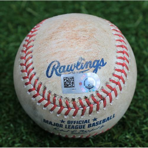 Photo of Game-Used Baseball: Meibrys Viloria Career Hit and Career RBI (TOR @ KC - 7/30/19)