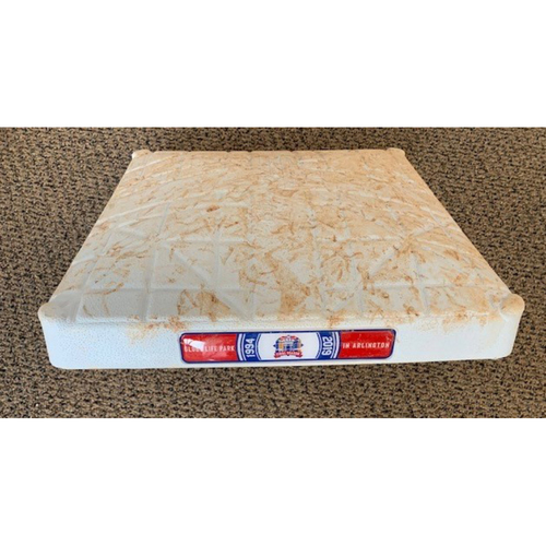 Photo of Game Used Base - 1st Base Used Innings 1 - 9 LAA at TXR 8/21/2019: Final TXR 8 - LAA 7 Game Won on Hunter Pence Walk Off 1B in the Bottom of the 9th Inning