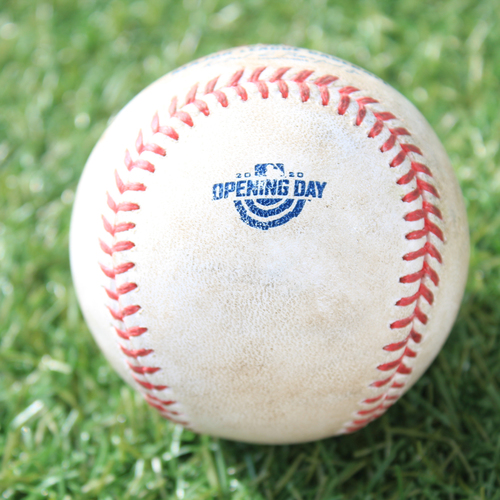 Photo of Game-Used Opening Day Baseball: Batter - Merrifield, Pitcher - Keuchel, FO to RF, Bottom 1 (7/31/20 CWS @ KC)