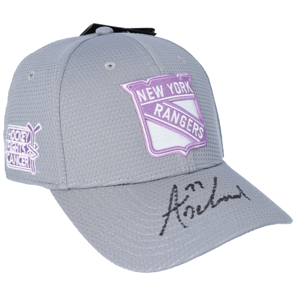Tony DeAngelo New York Rangers Autographed Hockey Fights Cancer Cap - NHL Auctions Exclusive