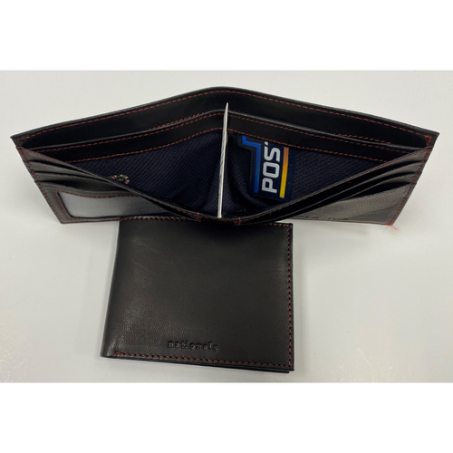 Photo of Wallet Made with Game-Used 2019 Navy Script Postseason Jersey