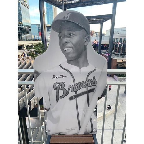 Photo of MLB Authenticated Autographed Cardboard Cutout photo of Hank Aaron and Eddie Mathews (not pictured) combined to hit 863 home runs as teammates, breaking the teammate record set by Babe Ruth and Lou Gehrig