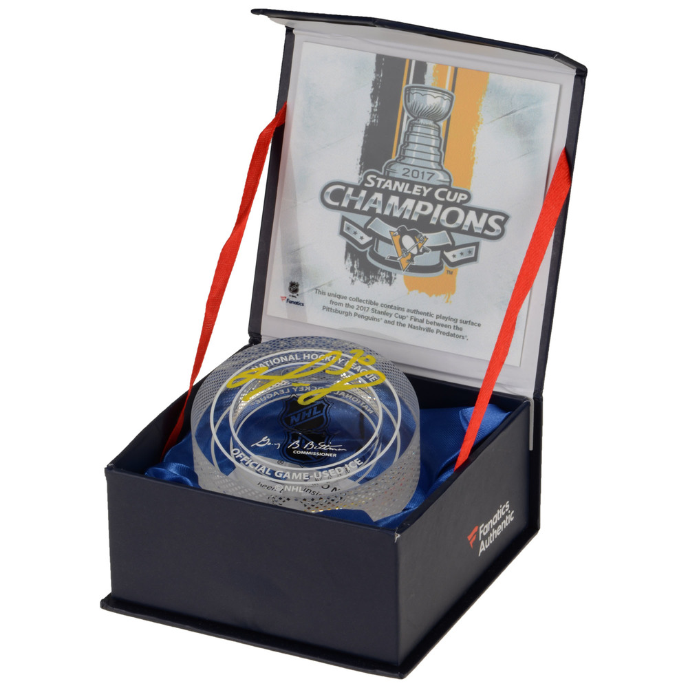 Matt Murray Pittsburgh Penguins Autographed 2017 Stanley Cup Crystal Puck - Filled With Ice From the 2017 Stanley Cup Final
