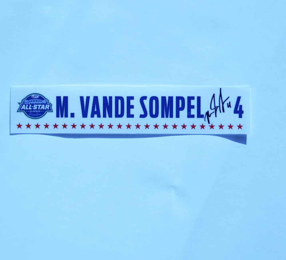 2018 AHL All-Star Classic Locker Room Nameplate Used and Signed by #4 Mitch Vande Sompel