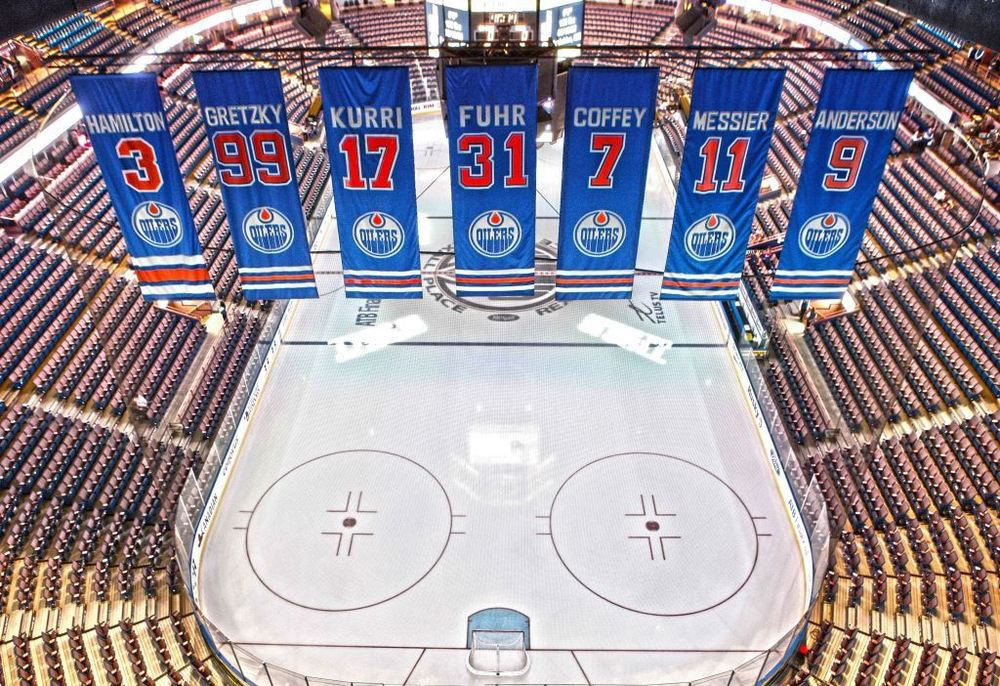 Edmonton Oilers - 24x35 Retired Number Banners Canvas - Featuring Hamilton, Gretzky, Kurri, Fuhr, Coffey, Messier, & Anderson