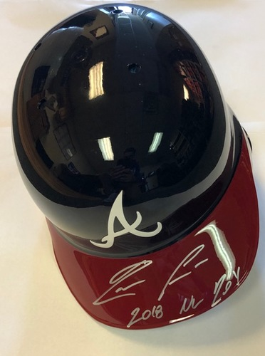 "Photo of Ronald Acuna Jr. Autographed ""2018 NL ROY"" Braves Batting Helmet"