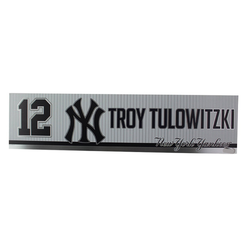 Photo of Troy Tulowitzki New York Yankees 2019 Game Used #12 Locker Room Nameplate (4/3/2019)