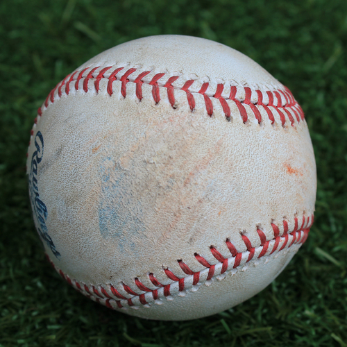 Photo of Game-Used Baseball: Kelvin Gutierrez 16th Career Hit (TEX @ KC - 5/16/19)