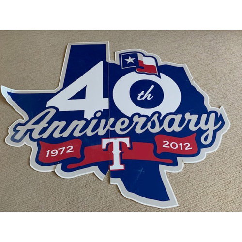 Photo of *PICK-UP ONLY* Texas Rangers 40th Anniversary Sign Measuring 6' X 6' That Was Displayed at Entrance to Tunnel Leading to Home Dugout at Globe Life Park