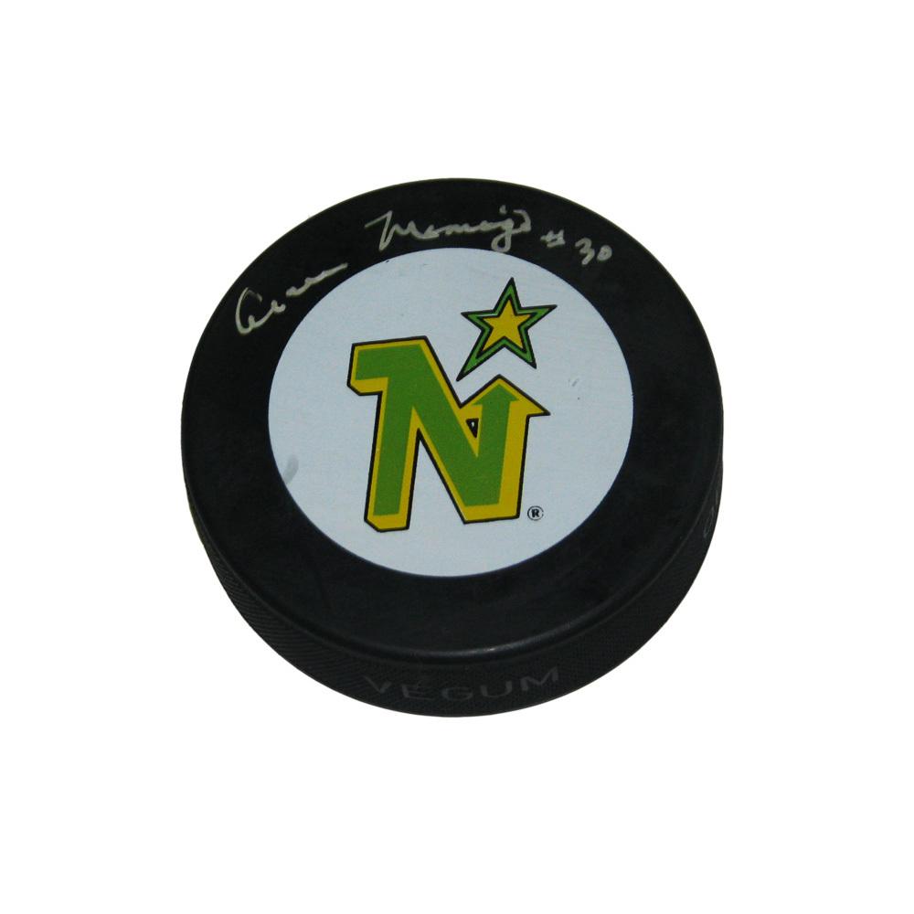 CESARE MANIAGO Signed Retro Minnesota Northstars Puck