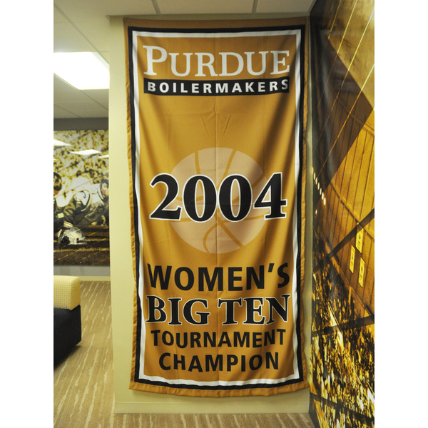 Photo of Mackey Arena Banner: Women's Basketball 2004 B1G Tourney Champs