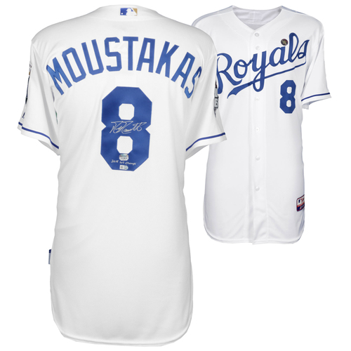 Photo of Mike Moustakas Kansas City Royals 2015 MLB World Series Champions Autographed Authentic Jersey with 15 WS Champs Inscription