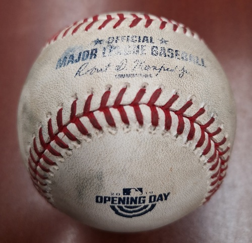 Photo of Authenticated Game Used Opening Day Baseball - March 28, 2019 vs Tigers: Ball by Jordan Zimmermann to Teoscar Hernandez (B7)