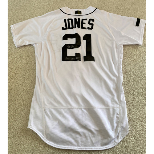 Photo of JaCoby Jones Autographed Game-Worn #21 Detroit Tigers Military Home Jersey with 5 Star Patch (MLB AUTHENTICATED)