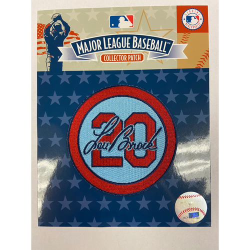 Photo of Cardinals Authentics: Lou Brock Road Alternate Blue Memorial Patch