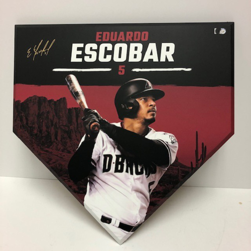 Photo of Eduardo Escobar Autographed D-backs Branded Home Plate