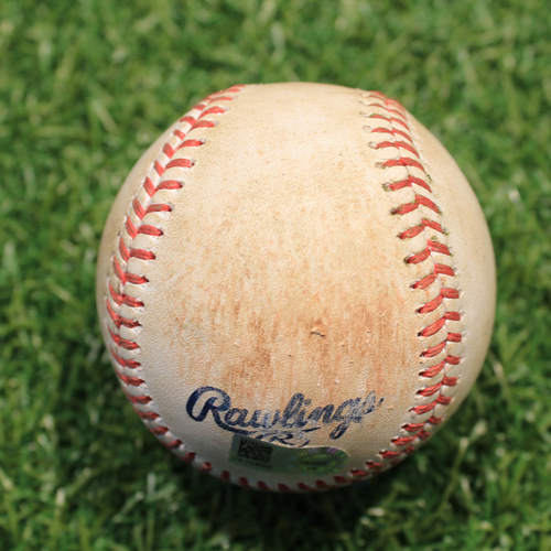 Photo of Game-Used Baseball: Mike Trout 1,394th Career Hit (LAA@KC 4/13/21)
