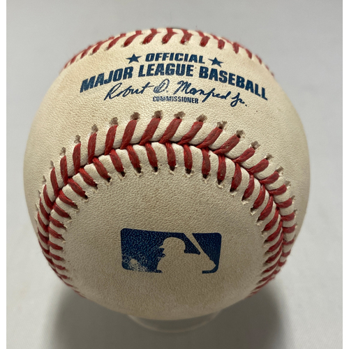Photo of 2021 Game Used Baseball used on 8/1 vs. HOU - T-7: Leone to Maldonado - Bunt Into Force Out at 3rd (Bryant) - Kris Bryant Giants Debut