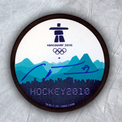 MARIAN HOSSA 2010 Olympic Games Hockey SIGNED Puck