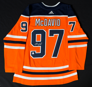 Connor McDavid  97 - Autographed Edmonton Oilers Orange Adidas Retail Pro  Authentic Jersey - Includes Three Bonus 2017-18 Edmonton Oilers Team-Issued  Player ... 0d49ce79d