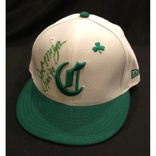 "Photo of Joe Morgan -- Game-Used Cap -- Inscribed as ""HOF '90"" -- 2019 St. Patrick's Day"