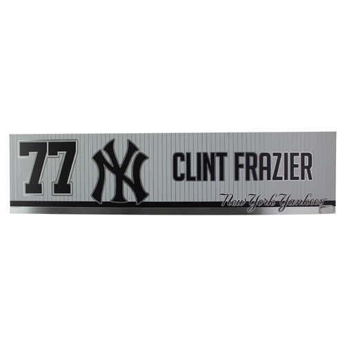 Photo of Clint Frazier New York Yankees 2019 Game Used #77 Locker Room Nameplate (4/3/2019)