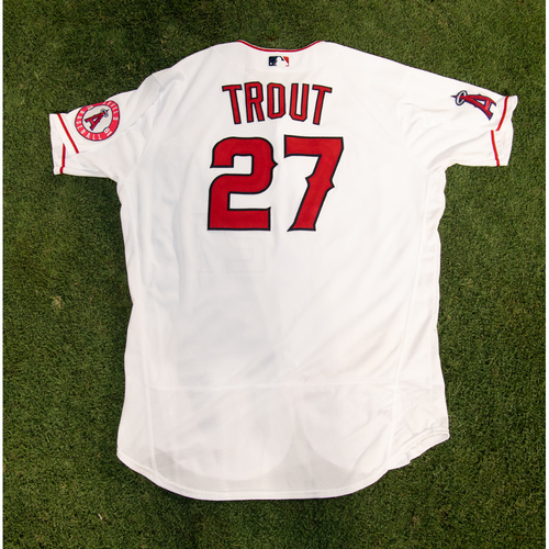 Photo of Mike Trout Game-Used Jersey from 8/14/20 Game vs. LAD - Size 48T