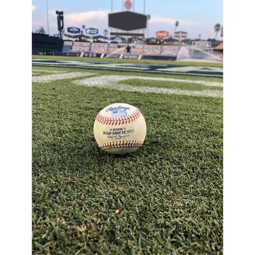 Photo of Game-Used Baseball: 2020 ALDS - Houston Astros vs. Oakland Athletics - Game 1 - Pitcher: Chris Bassitt, Batter: George Springer (Leadoff Single, 1st hit of ALDS) - Top 1