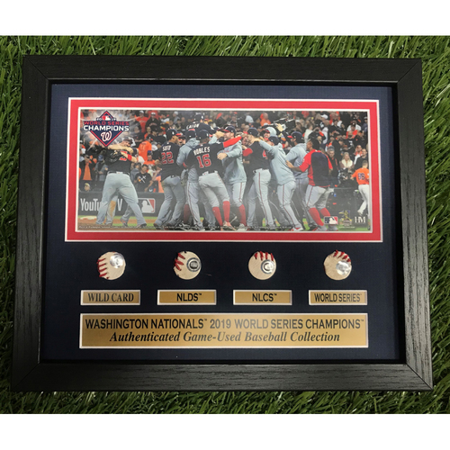 Photo of 2019 World Series Playoff Run Game-Used Baseball Frame