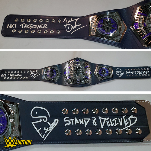 Photo of Santos Escobar and Jordan Devlin SIGNED NXT Cruiserweight Championship Replica Title. (Stand and Deliver Face Off)