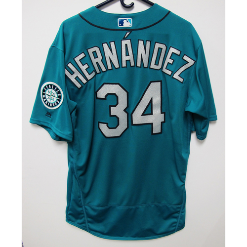 Photo of Seattle Mariners Felix Hernandez Game Used Green Jersey - July 6, 2018 vs. Colorado Rockies