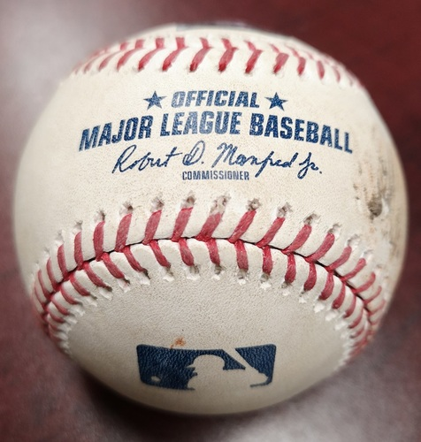 Photo of Authenticated Game Used Baseball - Mookie Betts Walks against Jaime Garcia (August 9, 2018). Top 6. Mookie Betts Hit for the Cycle in the Game.